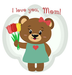 a cute brown bear holds three tulips vector image