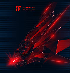 Abstract technology red color triangles vector