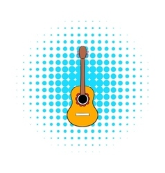Acoustic guitar icon in comics style vector image