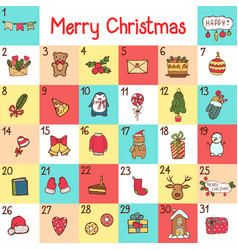 Advent calendar with christmas cartoon vector