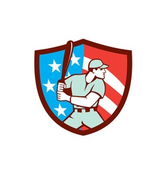 American Baseball Batter Hitter Shield Retro vector image
