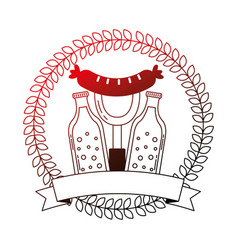 beer bottles and sausage with fork emblem vector image