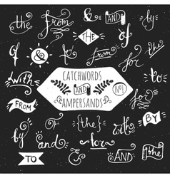 Big set of handdrawn ampersands and catchwords vector