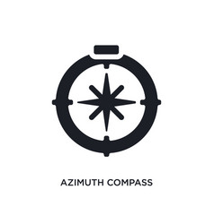Black azimuth compass isolated icon simple vector
