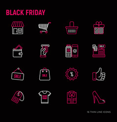 black friday sale thin line icons set vector image