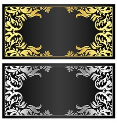 Black gift coupon with gold and silver ornament vector