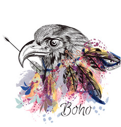 Boho tribal design with eagle holding arrow vector
