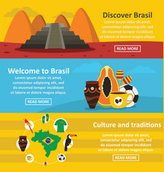 brasil travel banner horizontal set flat style vector image