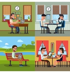 Business people working in various workplace vector