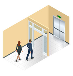 Businessman going exit door sign emergency vector