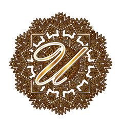 Capital letter u alphabet as a monogram vector