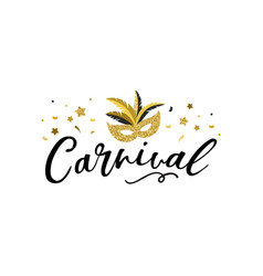carnival banner with golden chic party elements vector image