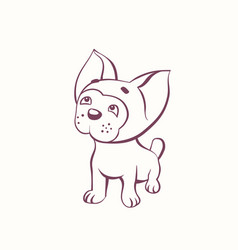 Cartoon bulldog in the ink contour style vector