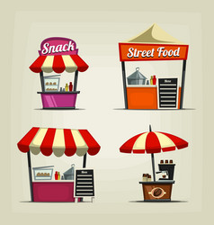 Cartoon snack street fast food stand coffee bar vector
