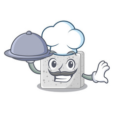 Chef with food feta cheese block on plate cartoon vector