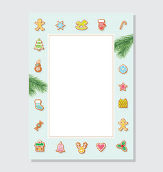 christmas letter blank template a4 decorated vector image