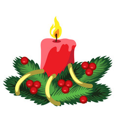 christmas sketch with red candle and fir branches vector image