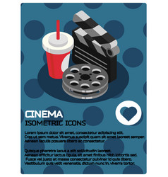 cinema color isometric poster vector image