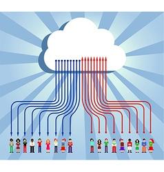 Cloud computing people communication vector image