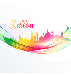 colorful mosque design with wave for ramadan vector image