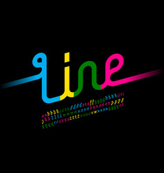 colorful one line font one single continuous line vector image