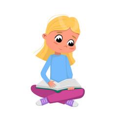 Cute blonde girl sitting on floor with crossed vector