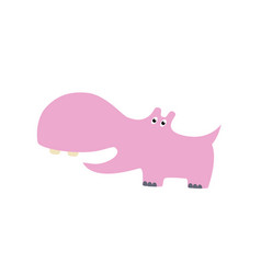 cute hippo cartoon hand drawn vector image