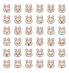 Cute rabbit emotion face in various expession vector