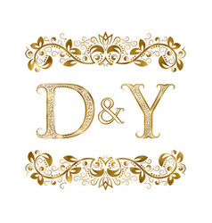D and y vintage initials logo symbol letters vector