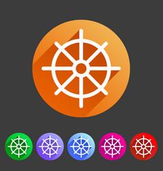 Dharma wheel dharmachakra buddhism icon flat web vector