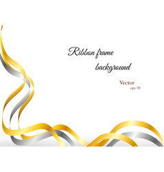 elegant gold and silver ribbon frame vector image