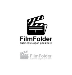 Film folder logo design vector