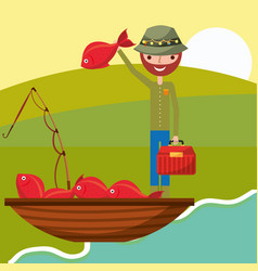 Fishing people cartoon vector
