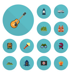 Flat icons fire music caravan and other vector