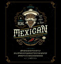 Font mexican craft retro vintage typeface design vector