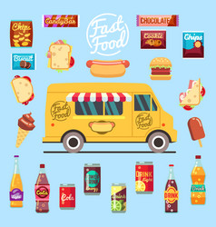 Food truck with big set summer meal fast food vector
