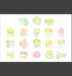 fresh juice set of logo templates hand drawn vector image