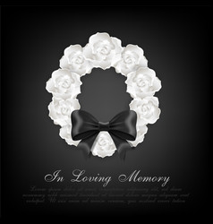 funeral card white roses wreath and black bow vector image