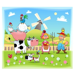 Funny farm family vector