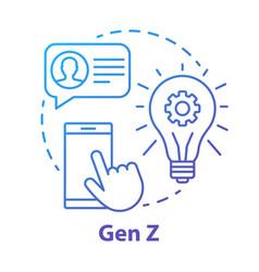 Gen z blue concept icon age group idea thin line vector