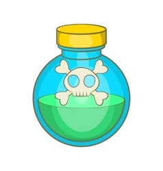 Glass bottle of green poison icon cartoon style vector image