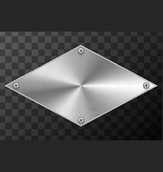 glossy metal industrial plate in rhombus shape on vector image