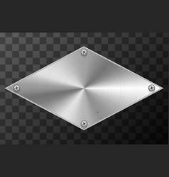 Glossy metal industrial plate in rhombus shape vector