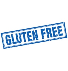 Gluten free blue square grunge stamp on white vector