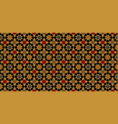 Gold moroccan motif tile pattern vector