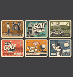 golf sport clubs balls tees flags on course vector image