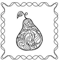 hand drawing pear filled vector image