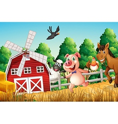 Happy farm animals vector image