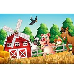 Happy farm animals vector