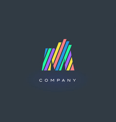 m letter logo with colorful lines design rainbow vector image